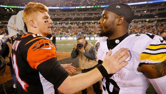 Cincinnati Bengals quarterback Andy Dalton (14) and