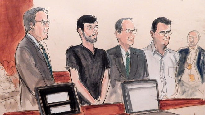 In this courtroom sketch, entrepreneur and former hedge fund manager Martin Shkreli, second from left, appears in court for his arraignment on fraud charges, Thursday, Dec. 17, 2015, in New York. Prosecutors said that between 2009 and 2014, Shkreli lost some of his hedge fund investors' money through bad trades, then looted Retrophin, a pharmaceutical company where he was CEO, for $11 million to pay back his disgruntled clients. From left are defense attorney Baruch White, Martin Shkreli, defense attorney Jonathan Sack and co-defendant Evan Greebel, a lawyer from Scarsdale who was charged with conspiracy.