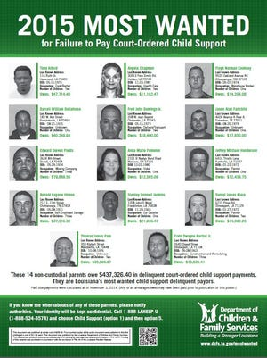 2015's most wanted by the Louisiana Department of Children and Family Services