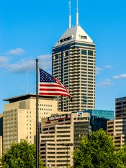 The Indianapolis skyline dominated by the Chase Building