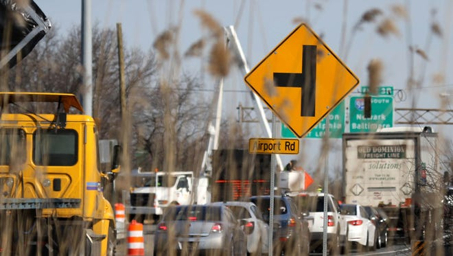 Traffic backs up on Del. 141 at the I-95 interchange in March. Southbound traffic will be funneled through one lane on the highway weekdays until April 22.