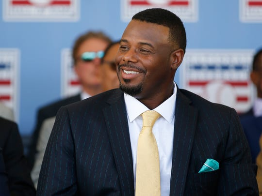 Former Seattle Mariners and Cincinnati Reds player, Ken Griffey Jr., smiles during induction ceremonies into the National Baseball Hall of Fame, Sunday, July 24, 2016, at the Clarks Sports Center in Cooperstown, N.Y.
