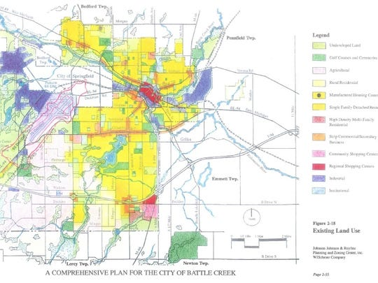 A map of future land uses from Battle Creek's 1997 master plan.