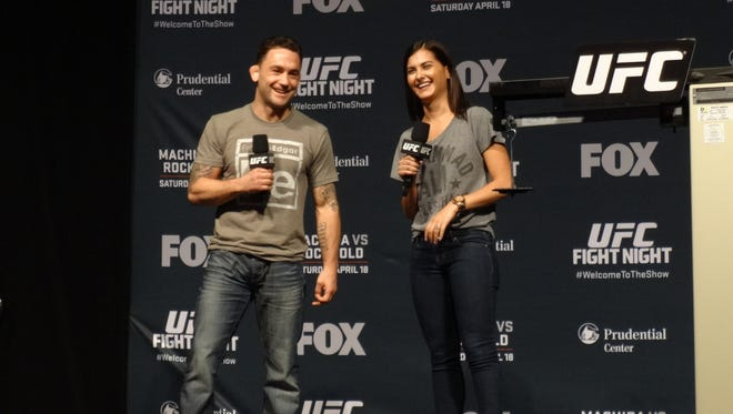 Toms River native and UFC star Frankie Edgar fields questions Friday during a fan Q&A at the Prudential Center in Newark.