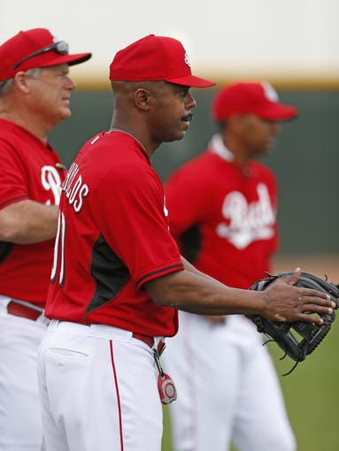 Delino DeShields, currently the manager for the Pensacola Blue Wahoos in the Cincinnati Reds organization is photographed during practice.