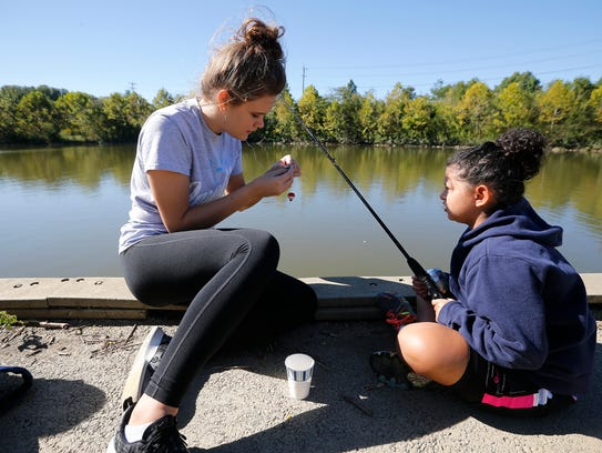 Fishing a first experience for some students for Fishing in cincinnati