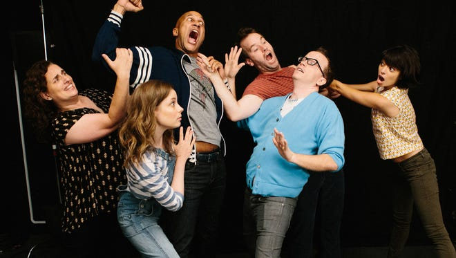 "Tami Sagher, left, Gillian Jacobs, Keegan-Michael Key, Mike Birbiglia, Chris Gethard and Kate Micucci in a scene from, ""Don't Think Twice."""