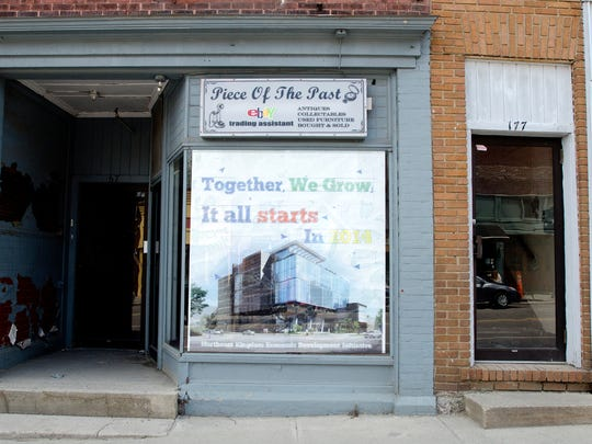 An empty storefront with peeling sheets of paint is commonplace in the current Spates Block of downtown Newport. Bill Stenger, President and CEO of Jay Peak Resort, wants to see growth both in jobs and businesses in the area and plans on building new retail, office space and residences with a targeted opening date of summer of 2015.