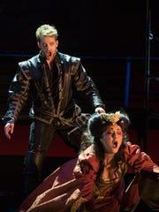 Hamlet (Joshua Kohl) confronts his mother, Queen Gertrude