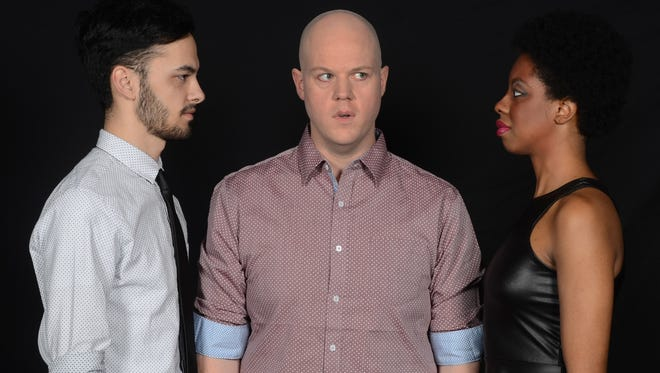 """Nearly Naked Theatre's """"Cock"""" stars (from left) Dylan Kim, Jericho Thomas and Ryan L. Jenkins."""