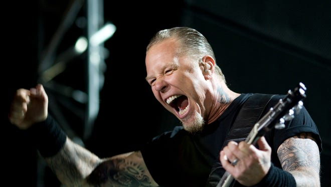 Singer and guitarist James Hetfield of Metallica performs with the band outside Tel Aviv, Israel.
