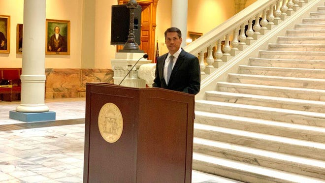 Lt. Gov. Geoff Duncan outlines his version of hate-crimes legislation at the State Capitol on Wednesday.