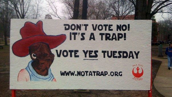 Students waged an unsuccessful campaign to make Admiral Ackbar Ole Miss' mascot in 2010.