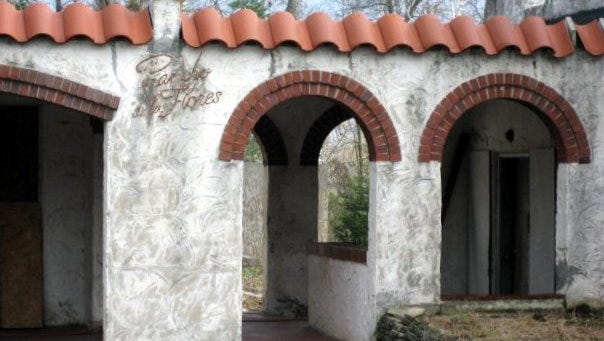 Rancho de las Flores, a Spanish revival-style home with its stucco walls and red tile roof, was once located on Greendale Road on Sheboygan's west side. Here we see its name etched on an exterior wall, still visible just before demolition.