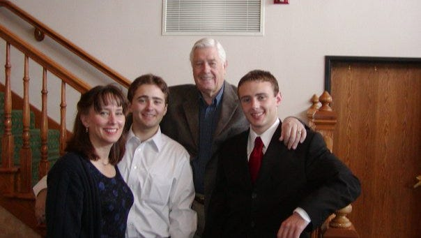 Kenneth Sundwall with daughter Ann and his grandsons Ian and Thomas.