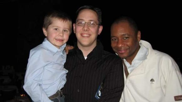 Five-year-old Spencer Morgensen and his dad, Eric, met Branford Marsalis when he last visited the Admiral in 2007.