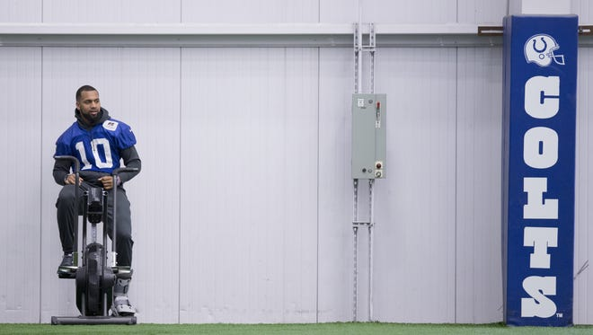 Donte Moncrief warms up during Colts practice, at Indiana Farm Bureau Football Center, Indianapolis, Tuesday, May 17, 2016.