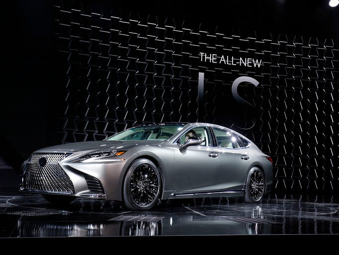 The 2018 Lexus LS Sedan is shown at its reveal at