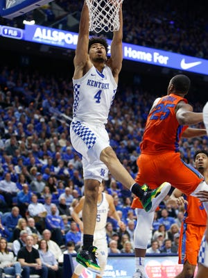 Nick Richards (No. 4) of the Kentucky Wildcats slams home a dunk against the Florida Gators at Rupp Arena on January 20, 2018 in Lexington, Kentucky.