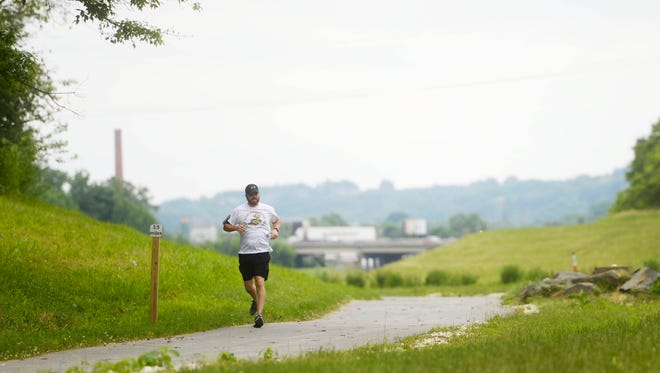 Anthony McCann runs past a gaggle of geese who have taken up residence on the York County Heritage Rail Trail Northern Extension in Springettsbury Township. McCann has been chased by the geese three times.