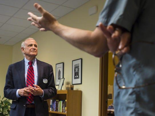 Republican gubernatorial candidate Bruce Lisman, left,