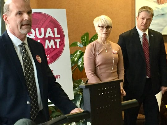Don Laine, left, chief executive officer at Anderson Zurmuehlen talks Tuesday about strides his company has made in equal pay for equal work.