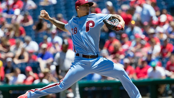 Philadelphia Phillies starting pitcher Vince Velasquez (28) pitches during the first inning against the Colorado Rockies at Citizens Bank Park.