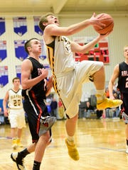 Old Fort's Luke Wagner looks to score Wednesday against Arlington.