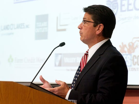 Tulare Mayor David Macedo delivers the State of the City presentation at Southern California Edison's AgTac building on Friday, May 15, 2015. Supervisor Pete Vander Poel also gave the State of the County.