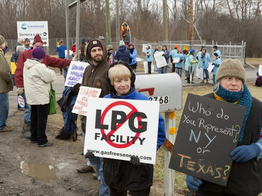 More than 100 protesters demonstrate in December outside the Crestwood Midstream gas storage construction project north of Watkins Glen.