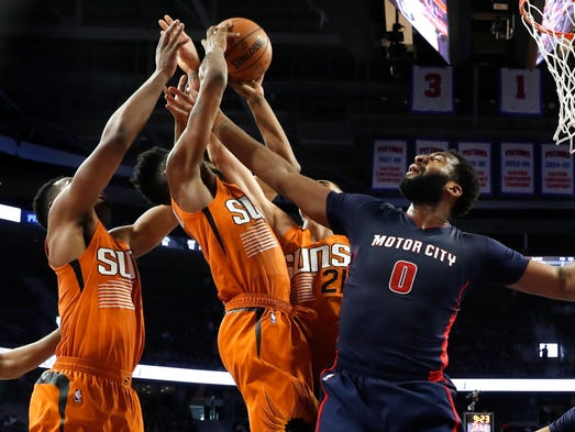 Detroit Pistons center Andre Drummond (0) reaches for