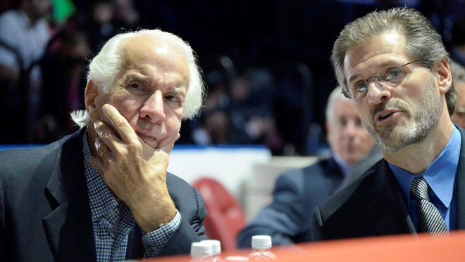 Flyers chairman Ed Snider, left, would sit at the draft table with his general manager, Ron Hextall.