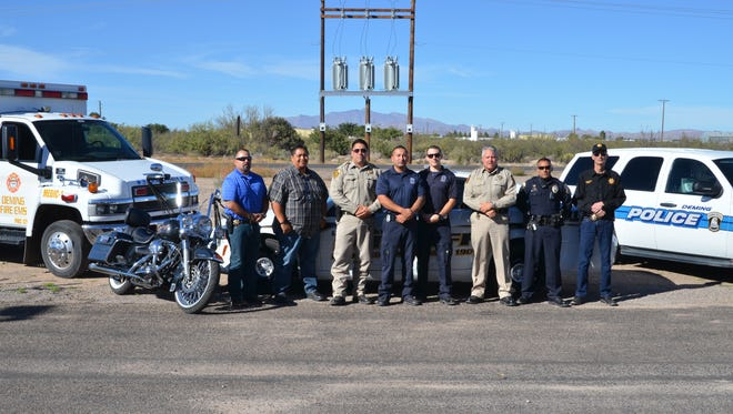 Local law enforcement and first responder agencies from across Luna County and local motorcycle clubs are holding the second annual Shop With a Cop Bike Run at 10 a.m. on Saturday, Oct. 22, 2016 starting at Walmart, 1021 E. Pine St. Shown from left are: Richard Holguin, Javier Gallosa, Capt. Jose Martinez, Alexander Maynes, Justin Power, Lt. Richard Cowles, Officer Bobby Chavez and Sheriff John Mooradian. Gallosa, Martinez and Holguin are members of the Armaduras Law Enforcement Motorcycle Club which is co-hosting the event with the Choir Boys LEMC and Bonafide Saints LEMC. Registration for a single rider will be $20 and $25 for double riders. Kick stands go up at 11 a.m. Stops, in order, will include Walmart, Nutt Bar, Yoya's Bar and Grill, Adobe Deli and the Elks Lodge at 4 p.m. All proceeds will benefit Shop With a Cop, which raises money to provide Christmas presents to local youth.