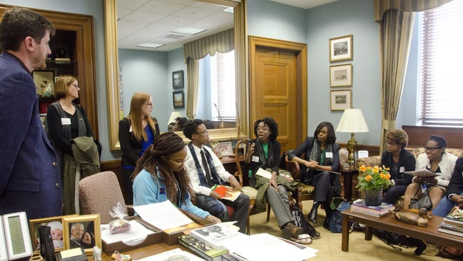 Youth Ambassadors from Jackson high schools raise their concerns — local, national and global — with Robert Murray, U.S. Sen. Roger Wicker's education legislative assistant. At the meeting with Murray, from left, were: Julia Campbell, ChildFund U.S. country program manager; Amber Stone, ChildFund Interim Advocacy Advisor; and Youth Ambassadors Shamia Thompson, 10th grade, Wingfield H.S.; Joseph Jiles, 10th grade, Lanier H.S.; and Zion Blount, 11th grade, Forest Hill H.S.; with Amber May, Operation Shoestring Programs director; LaToya Washington, Operation Shoestring intern; and Youth Ambassador Cameron Lazard, 10th grade, Callaway H.S.