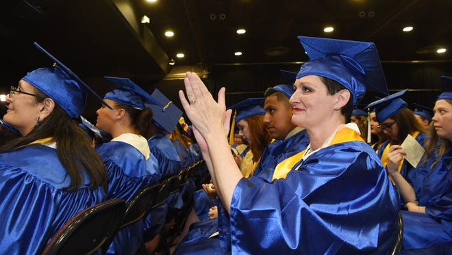 Bonnie Ottilo of Hyde Park, who is graduating with an associate degree in Human Services, pictured at Dutchess Community College's graduation at the Mid-Hudson Civic Center in the City of Poughkeepsie.