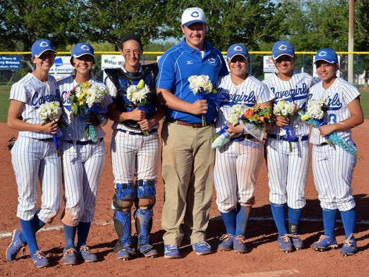 The Carlsbad softball seniors, including team manager and Cavemen football senior offensive guard Bobby Taylor, pose just before game two last Friday against Clovis on senior day.
