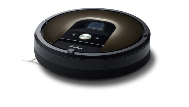 A photo of a Roomba, the robotic vacuum cleaner produced by Massachusetts-based iRobot.