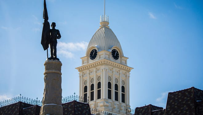 The Soldiers and Sailors Monument stands outside of the Randolph County Courthouse in Winchester.
