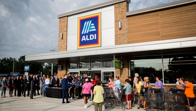 ALDI on Madison Street on the southside of Muncie held its grand re-opening ceremony Thursday morning after weeks of renovations. The grocery store chain is planning similar renovations to its McGalliard Road store in the near future.