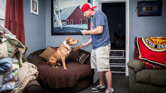 Marines veteran Josh Gates adopted Thunder from Muncie's shelter after the dog spent 304 days at the facility. Gates said he adopted the dog because he understood what it meant to be stuck somewhere he didn't want to be for a long period of time.