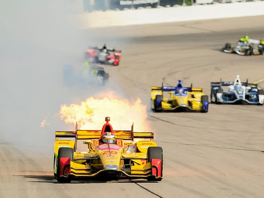 The car of Verizon Indy Car driver Ryan Hunter-Reay