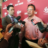 """Indiana University head basketball coach Tom Crean talks with the media during the IU Booster """"On The Road"""" event held at Lucas Oil Stadium on Thursday, August 27, 2015."""