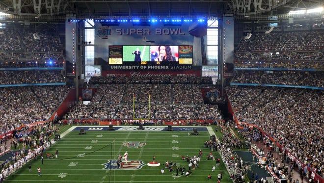 Super Bowl XLII at University of Phoenix stadium in Glendale on February 3, 2008.