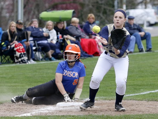 Notre Dame third baseman Mackenzie Maloney waits for