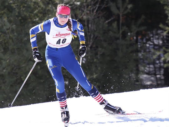 Grace Mattern of Brighton at the state Nordic skiing championships