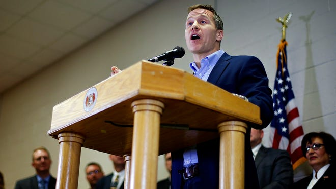 Missouri governor Eric Greitens delivers an outline of the his state budget for fiscal year 2018 during an address at Nixa's Early Childhood Center in Nixa, Mo. on Feb. 2, 2017.