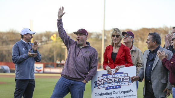 ULM Warhawk Ben Sheets is recognized Tuesday, on Warhawk Field, for his induction into the Louisiana Sports Hall of Fame.