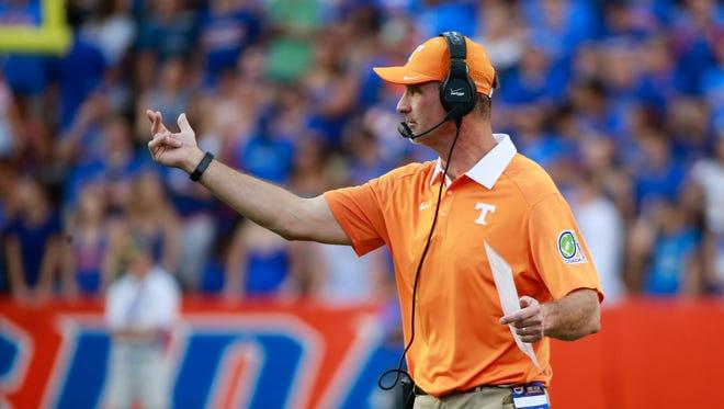 Sep 26, 2015; Gainesville, FL, USA;  Tennessee Volunteers defensive coordinator John Jancek during the second half at Ben Hill Griffin Stadium. Florida Gators defeated the Tennessee Volunteers 28-27.