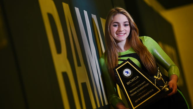Portrait of Ramapo's Samantha Marion, who is The Record Gymnast of the Year, photographed at Ramapo High School in Franklin Lakes on Nov. 30, 2016.  Mitsu Yasukawa