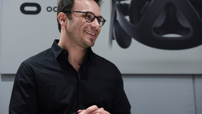 Jan 4, 2016; Las Vegas, NV, USA; Brendan Iribe, co-founder of Oculus VR, Inc. during an interview with USA TODAY on the opening day the 2016 Consumer Electronics Show at the Las Vegas Convention Center. Mandatory Credit: Robert Hanashiro-USA TODAY NETWORK (Via OlyDrop)